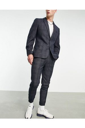 ASOS Tapered suit trouser with cuff in navy check