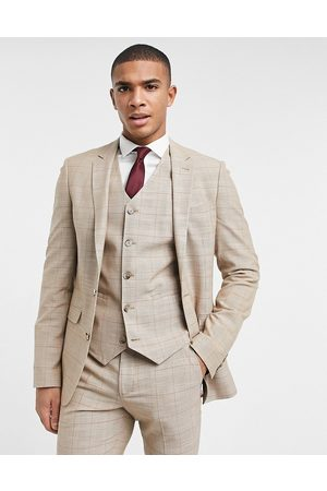 ASOS Wedding super skinny suit jacket in prince of wales check in camel