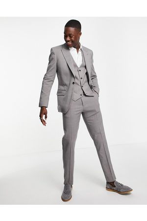 ASOS Wedding slim suit trousers in charcoal crosshatch