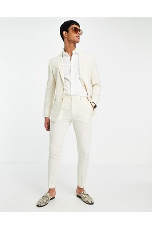 ASOS Wedding super skinny suit trousers in stone crosshatch