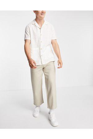 Topman Wide leg crop twill trousers in ecru