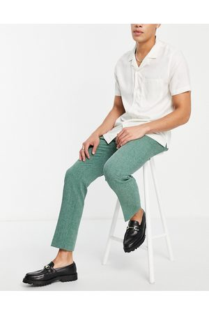 ASOS Wedding slim suit trousers in forest green crosshatch