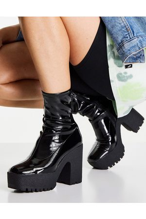 ASOS Elena high heeled sock boots in black patent