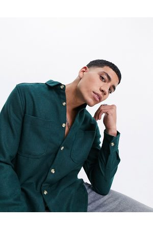 ASOS Wool mix overshirt in forest green