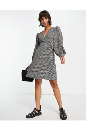 SELECTED Femme wrap mini dress with volume sleeves in mono gingham
