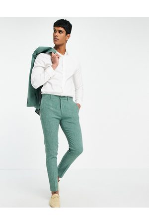 ASOS Wedding super skinny suit trousers in forest green crosshatch