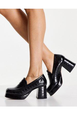 ASOS Signature platform heeled loafer in black croc