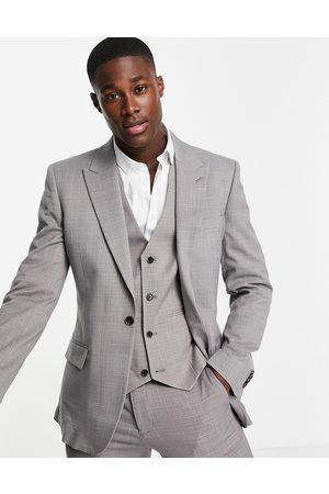 ASOS Wedding slim suit jacket in charcoal crosshatch