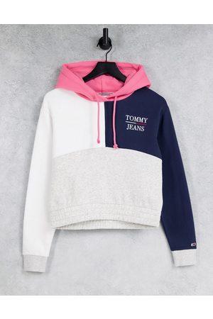 Tommy Hilfiger Crop colourblock hoodie in multi