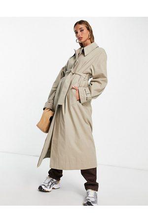 ASOS Sharp collar trench coat in stone
