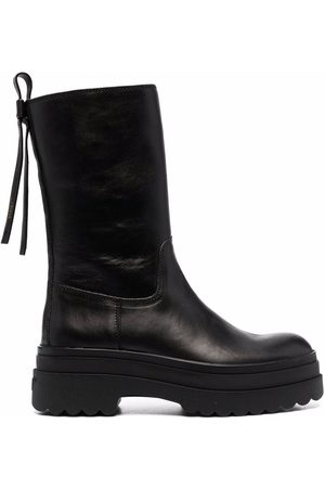 RED(V) LYE(RED) mid-calf length boots
