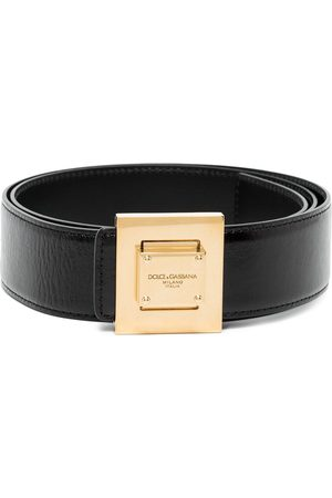 Dolce & Gabbana DG SQR GOLD LOGO BUCKLE BELT BLACK