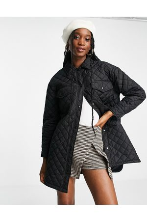 New Look Quilted shacket in black