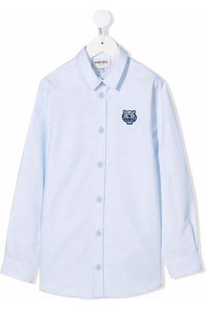 Kenzo Niño Camisas - Logo embroidered oxford shirt