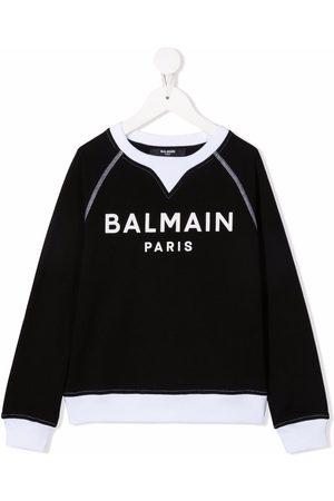 Balmain Niño Con capucha - Logo-print long-sleeved jumper