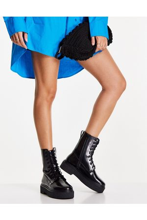 ASOS Acolade premium leather flat lace up boots in black