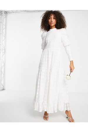 Sister Jane Bridal 80s puff sleeve backless lace maxi wedding dress in ivory