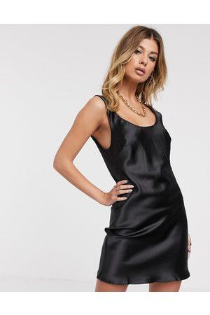 ASOS Scoop neck super mini satin slip dress in black