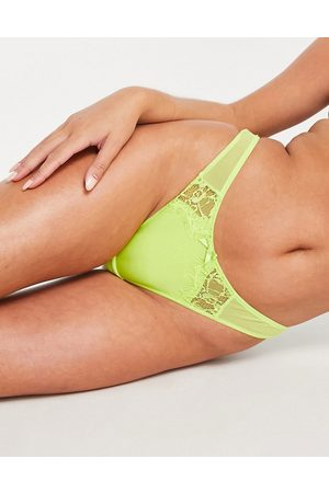 Figleaves Pulse eyelash lace thong in lime