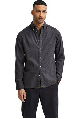 SELECTED Camisa Manga Larga Slim Flannel L Black / Detail Melange