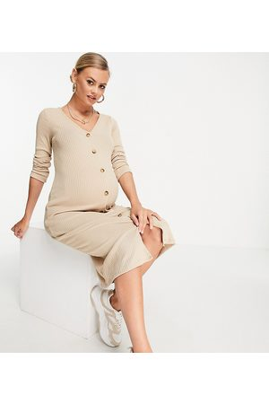 New Look Mujer Midi - Ribbed button through midi dress in oatmeal