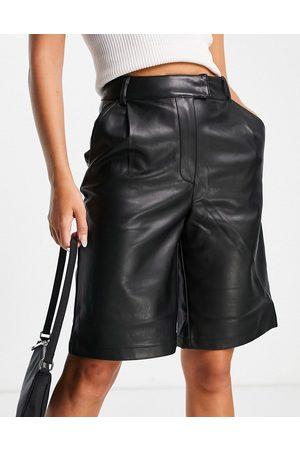 River Island Longline faux leather bermuda shorts in black
