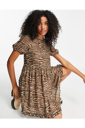 River Island Animal print lace mini smock dress in brown