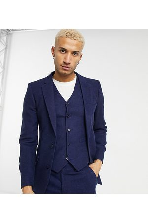ASOS Wedding super skinny wool mix suit jacket in navy twill