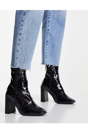 River Island Patent square toe heeled sock boots in black