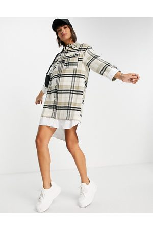 River Island Long sleeve checked hybrid shirt dress in