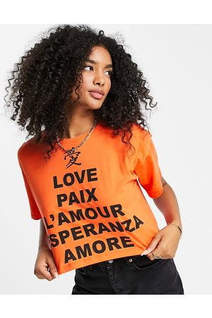 River Island Short sleeve love language cropped t