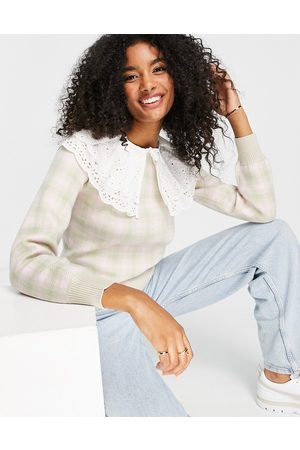River Island Check jumper with broderie collar detail in pink