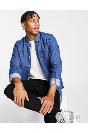 New Look Long sleeve denim shirt in mid blue