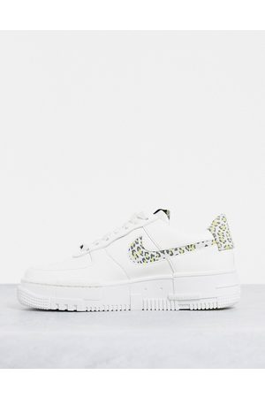 Nike Air Force 1 Pixel trainers in off white and leopard print