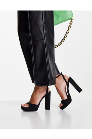 ASOS Noun platform barely there heeled sandals in black