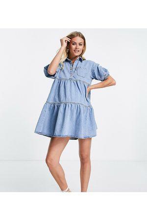 River Island Smock denim shirt dress in light blue