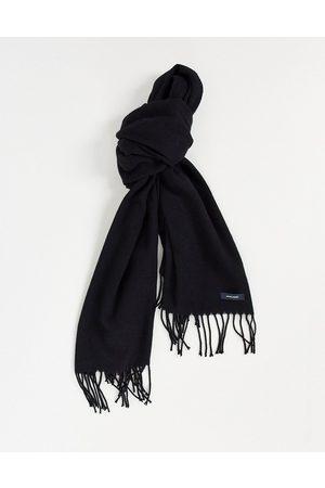 JACK & JONES Woven fringed scarf in black