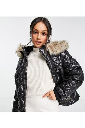 River Island Belted patent quilted padded jacket with faux fur hood in black