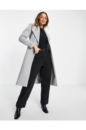 River Island Puff sleeve belted robe coat in grey