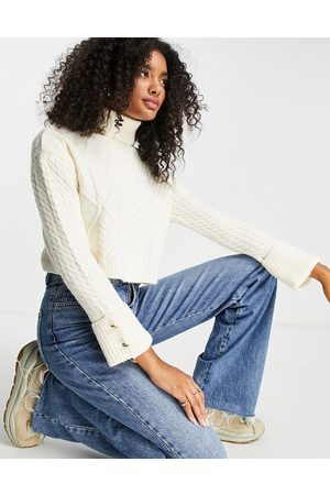River Island Cable knit cropped funnel neck jumper in cream
