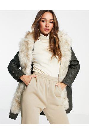 River Island Faux fur lined parka jacket in khaki