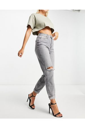 River Island Mom high rise jean with rip detail in grey