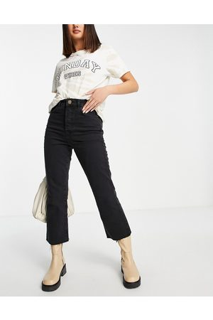River Island High waisted kick flared jeans in black
