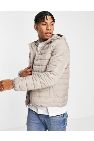 New Look Hooded puffer in stone