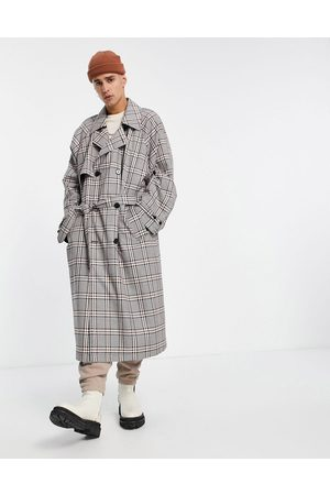 ASOS Double breasted oversized trench coat in grey check