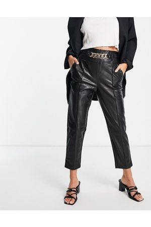 River Island Chain belted faux leather peg trousers in black