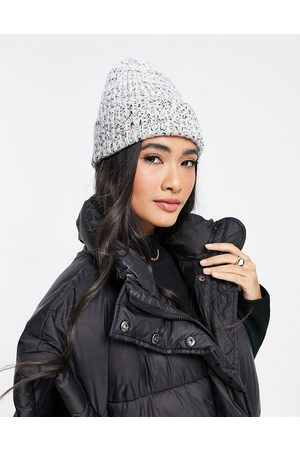 ASOS Mixed knit rib beanie in black and white