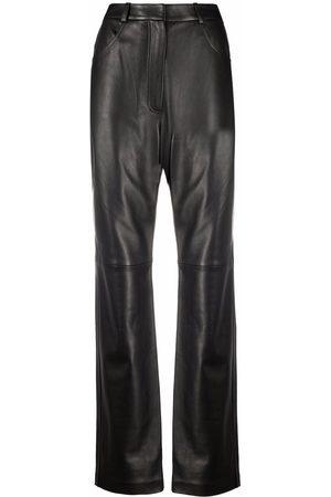 12 STOREEZ Mujer De piel - Pantalones rectos de cuero