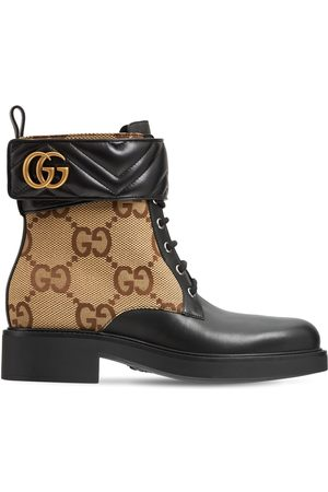 Gucci Botines Marmont De Piel Y Lona 40mm