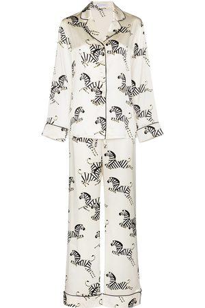 Olivia von Halle Mujer Conjuntos de lencería - Pijama de seda con estampado de cebra